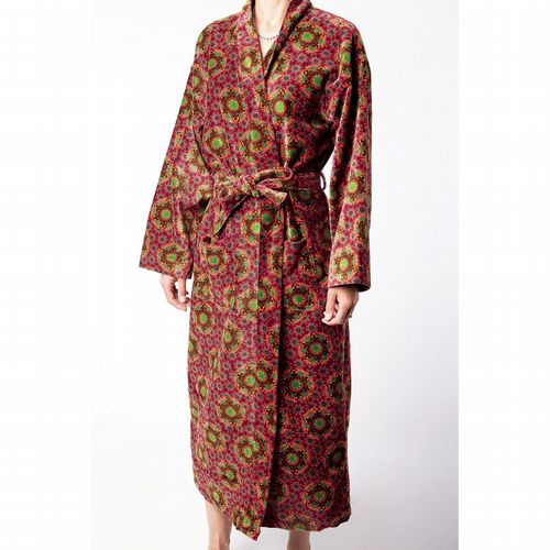 Printed Cotton Velvet Robe - Gustave Fig